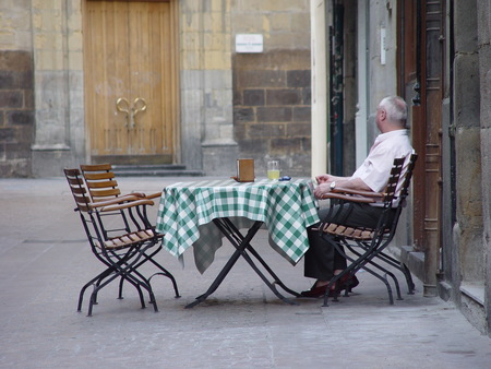 Lonely Old Alone Man Sitting